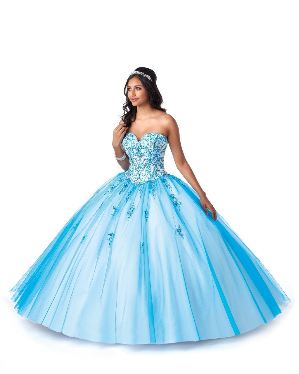 84e6798815a 5706 Tulle Quinceañera Ball Gown with Sweetheart Neckline and Lace-Up Back