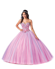 5708 Quinceañera Tulle Ball Gown with Beaded Bodice and Multicolor Skirt