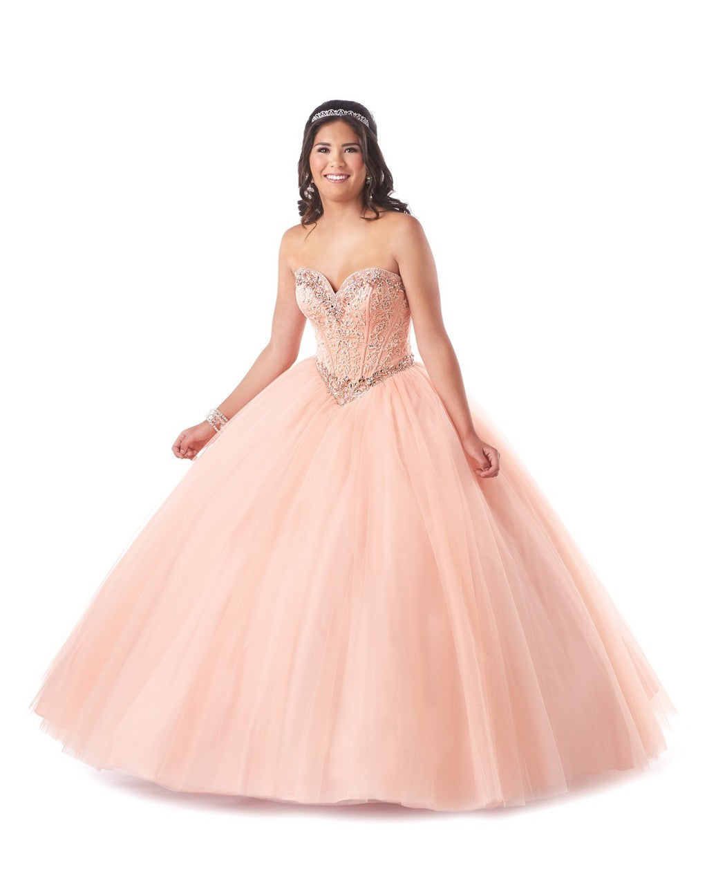 Tulle Quinceañera Ball Gown with Beautifully Beaded Bodice and Co ...