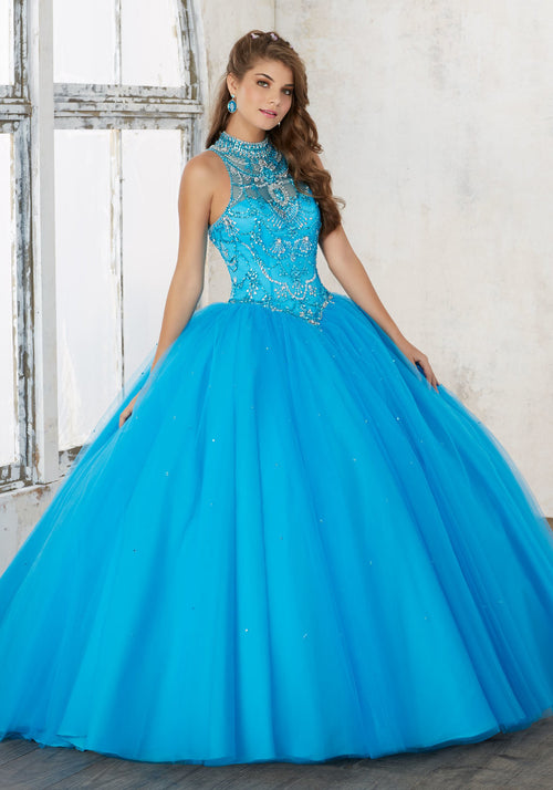 60011 Jeweled Beading on a Tulle Quinceañera Ball Gown