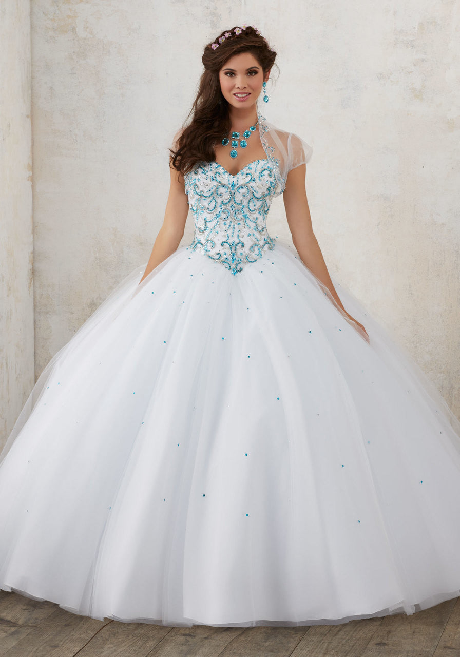60012 Contrasting Jeweled Beading on a Tulle Quinceañera Ball Gown