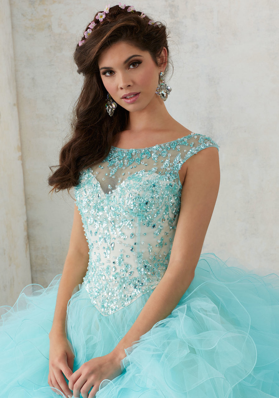 4f195b1953c6 Jeweled Beading on a Ruffled Tulle Quinceañera Ball Gown – Rina's ...