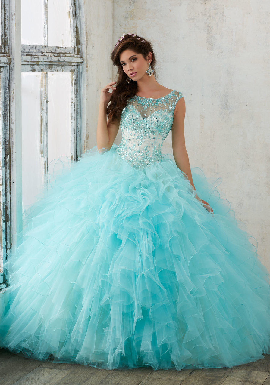 Jeweled Beading on a Ruffled Tulle Quinceañera Ball Gown – Rina\'s ...