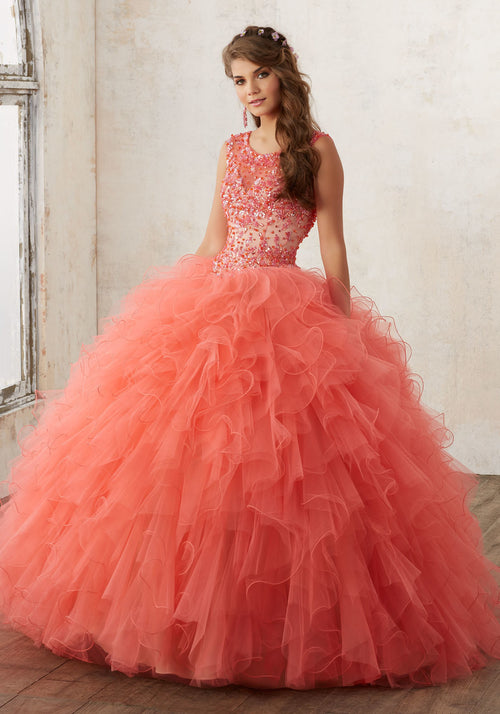 60013 Jeweled Beading on a Ruffled Tulle Quinceañera Ball Gown