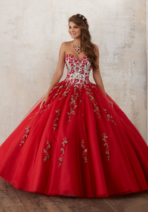 60014 Embroidery and Beading on a Tulle Quinceañera Ball Gown