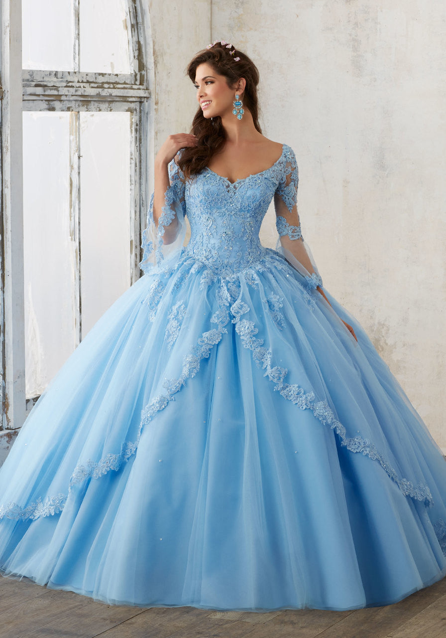 60015 Beaded Lace on a Princess Tulle Quinceañera Ball Gown
