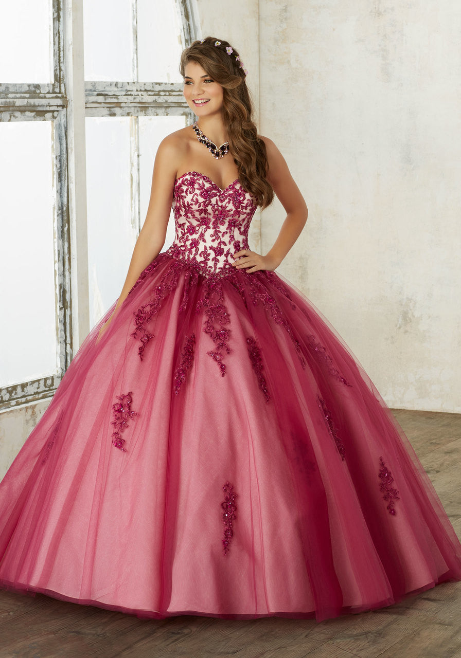 60016 Embroidery and Beading on a Tulle Quinceañera Ball Gown
