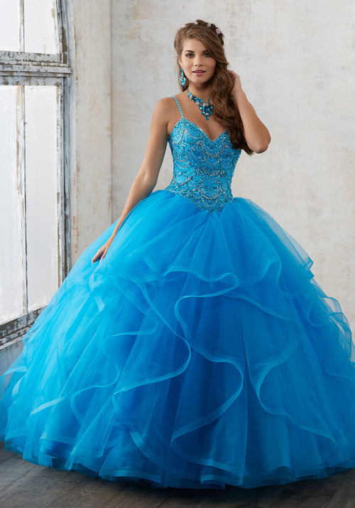 60017 Jeweled Beading on a Flounced Tulle Quinceañera Ball Gown