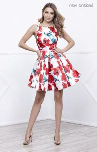 6280 Short Red Floral Party Dress