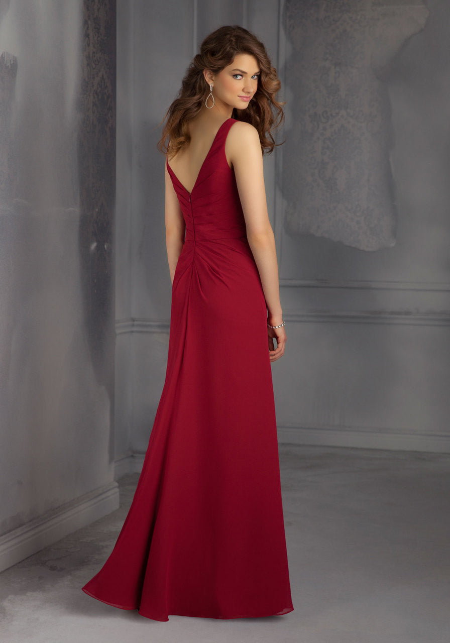 693 Long Chiffon Bridesmaids Dress with a V-Neck