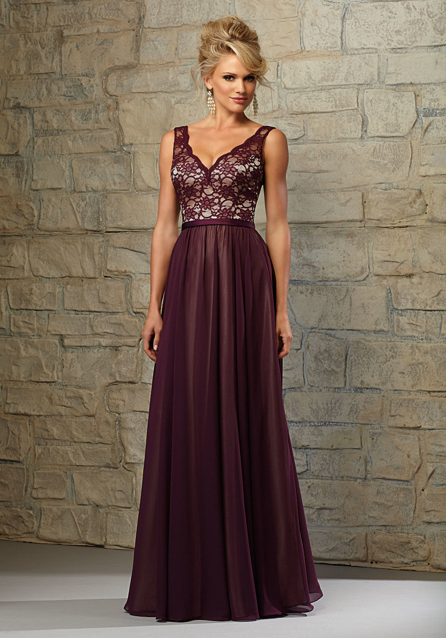 25a3592b2052a 603 Long Bridesmaids Dress with Lace Bodice and Chiffon Skirt over Nude  Lining