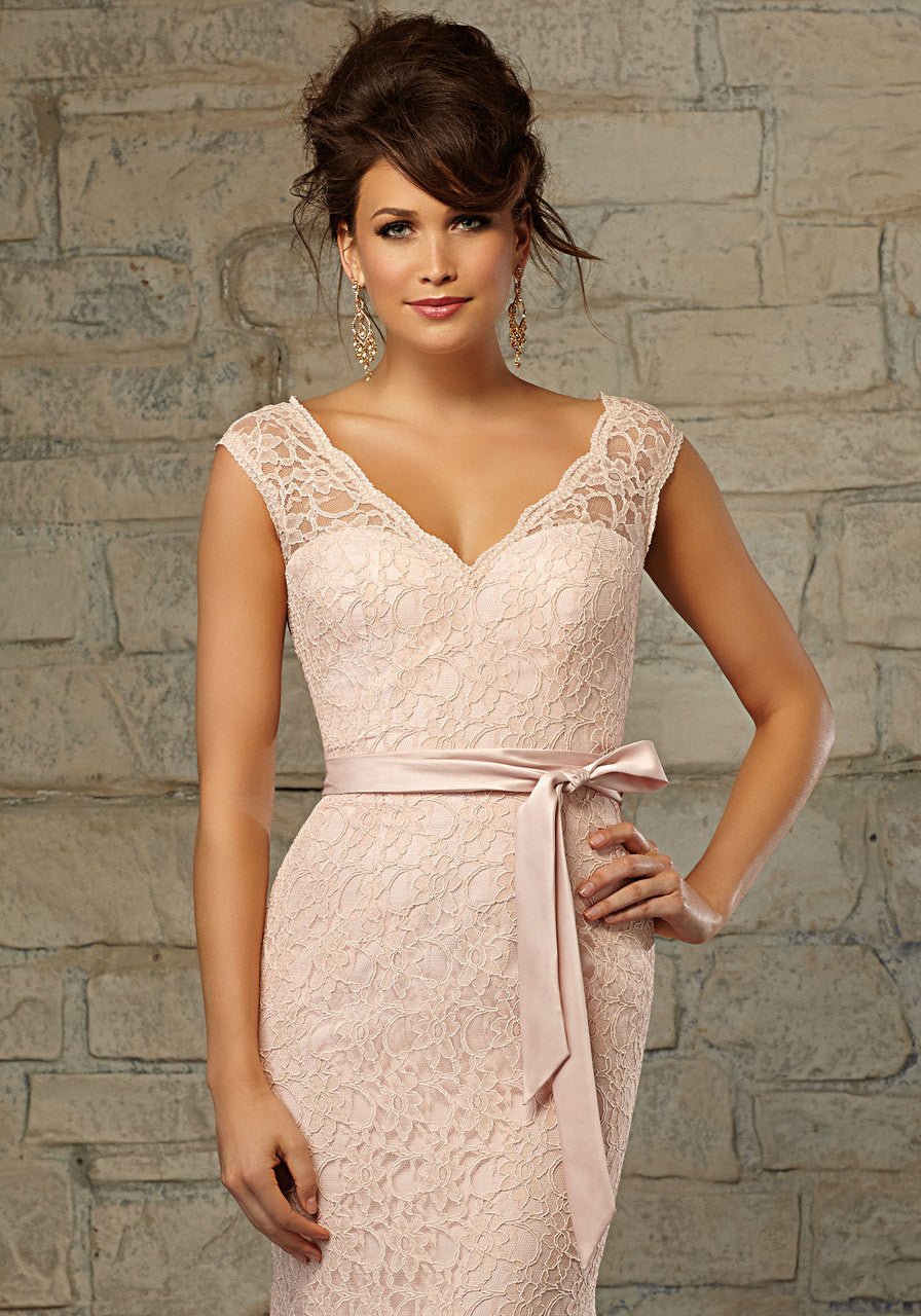 613 Long Lace Trumpet Bridesmaids Dress with a V-Neck and Keyhole Back