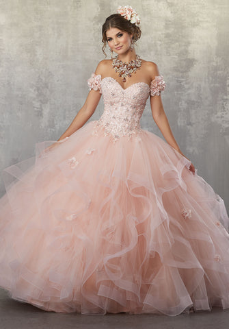 78068  Metallic Lace Quinceañera Ballgown with Crystal Beaded Details and Detachable Cap Sleeves