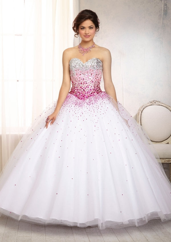 88086 Crystal Beaded Satin Bodice On A Ruffled Tulle Skirt Quinceanera Dress