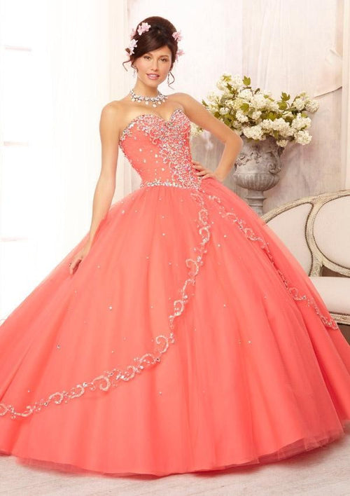 88088 Embroidered and Beaded on a Tulle Ball Gown Skirt with a sweep train