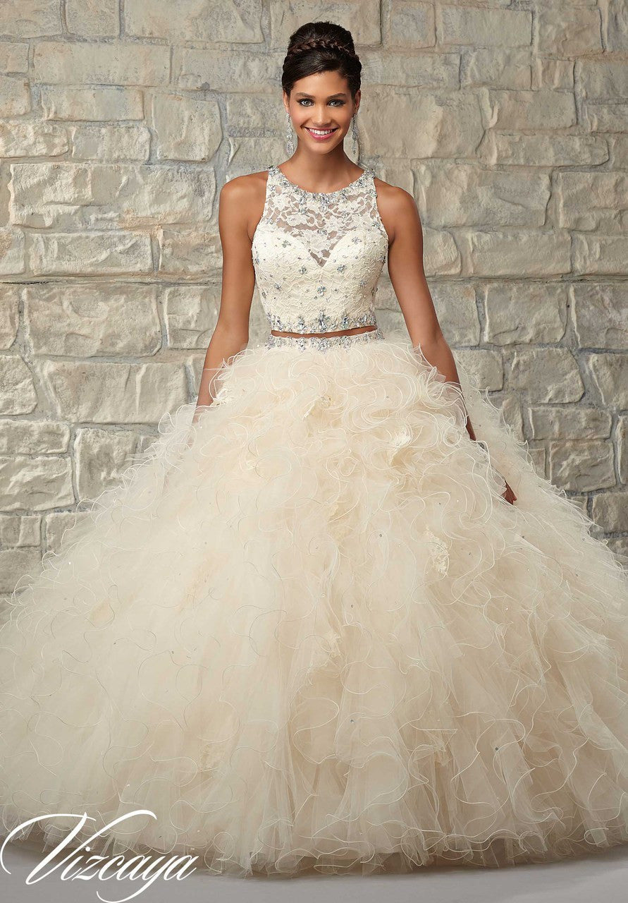 89026  Two-Piece Ruffled Tulle Skirt with Lace Bodice and Beading