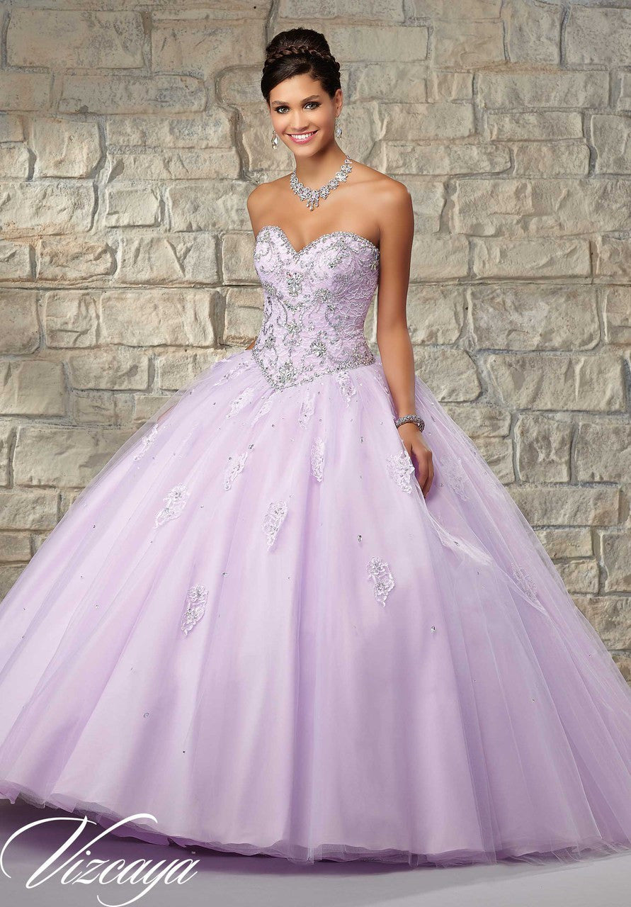 89034 Beaded Lace bodice with a tulle ball gown skirt with matching bolero jacket