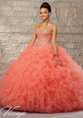 a16d01e2178 78926 Ruffled Tulle Skirt with Contrasting Embroidered   Beaded Bodice Quinceanera  Dress