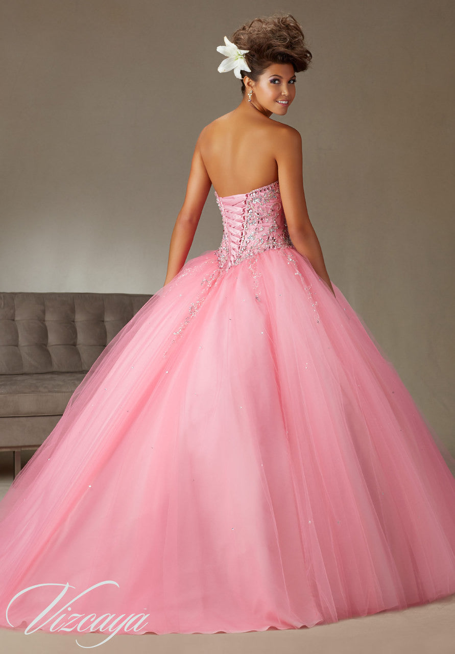 89062 Strapless beaded boodice with tulle skirt