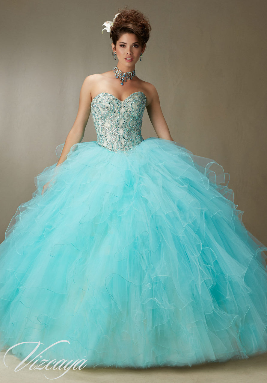 89068 Crystal beading on a ruffled tulle skirt and removable key hole straps