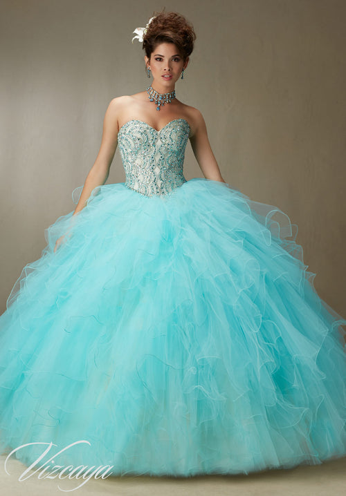 bcb11669505 89068 Crystal beading on a ruffled tulle skirt and removable key hole straps