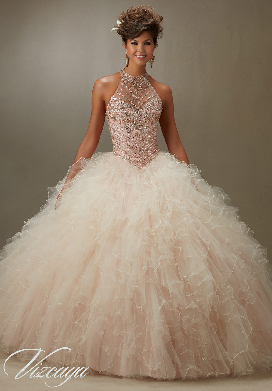89070 Jeweled beading on a ruffled tulle ball gown