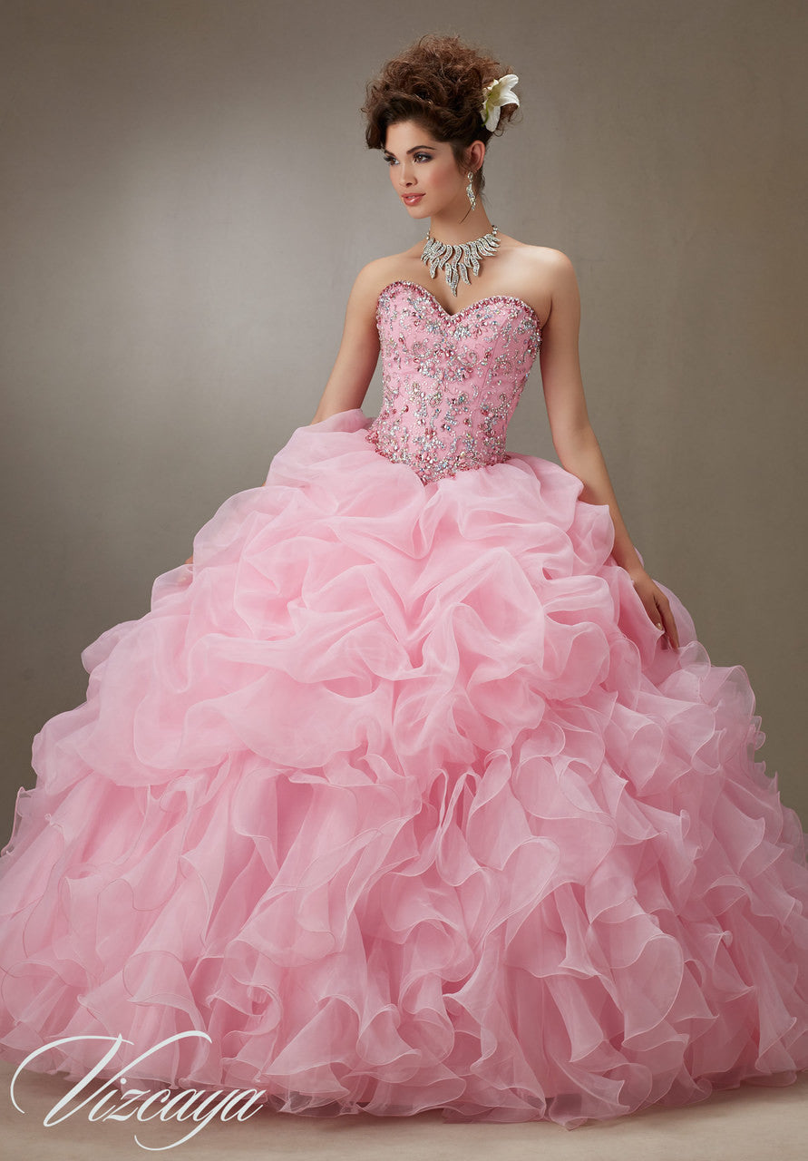 89075 Ruffled organza skirt with beaded bodice