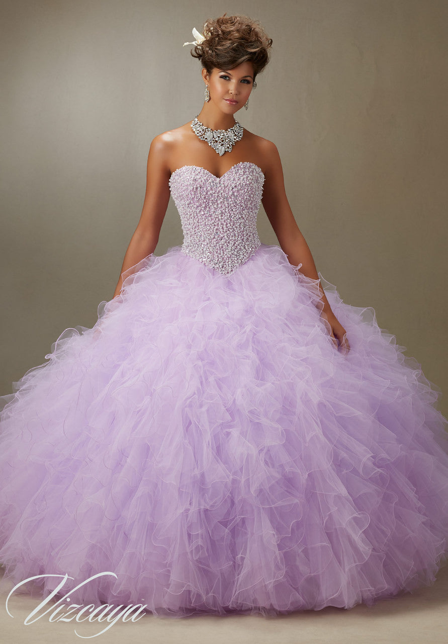 89077 Pearl Beaded Bodice On A Ruffled Tulle Quinceanera Dress