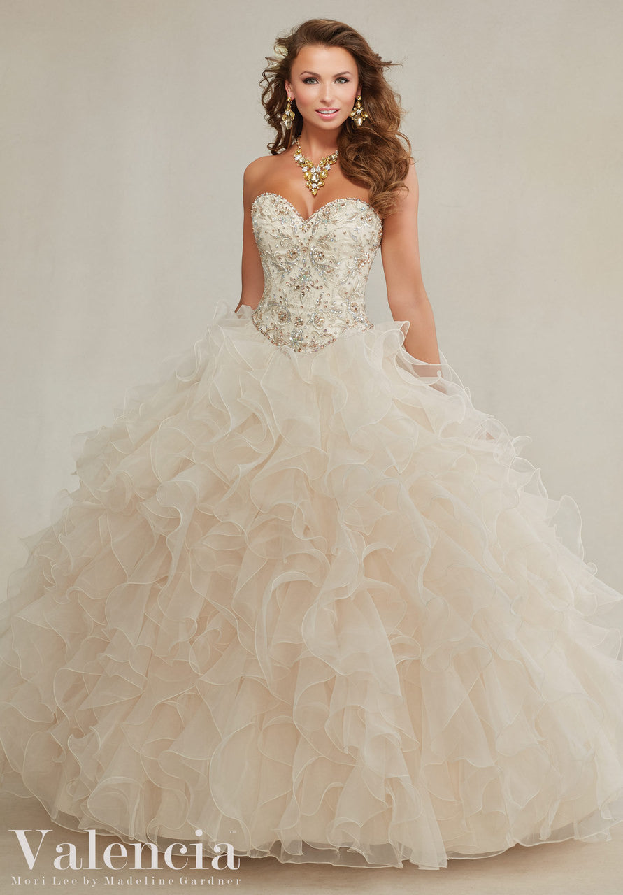 89082 Embroidery and beading on a ruffled organza skirt