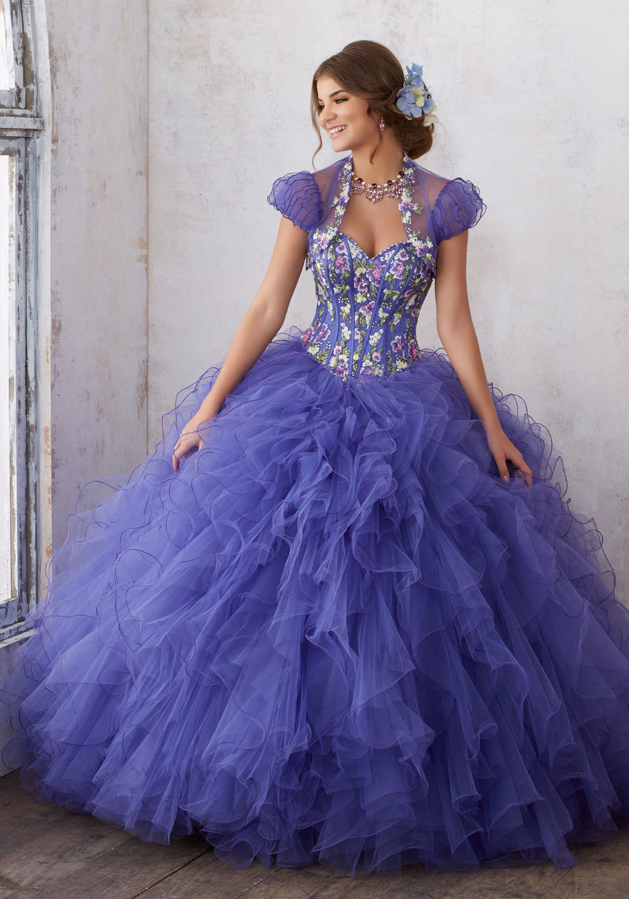 89121 Embroidery and Beading on a Ruffled Tulle Ballgown