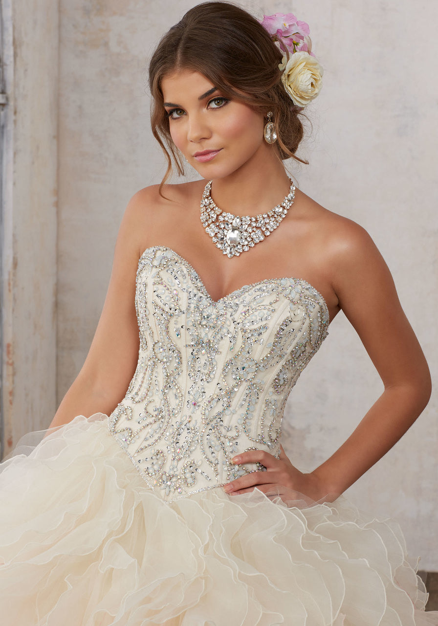 89123 Moonstone Jeweled Beading on a Ruffled Organza Ballgown