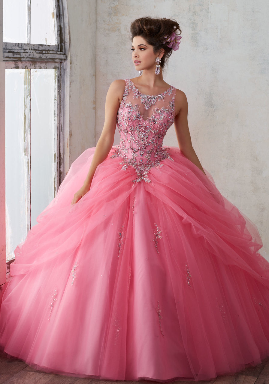 89125 Jeweled Beading on a Princess Tulle Ballgown