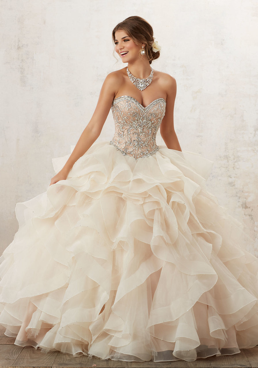 89126 Jeweled Beading on a Flounced Organza Ballgown
