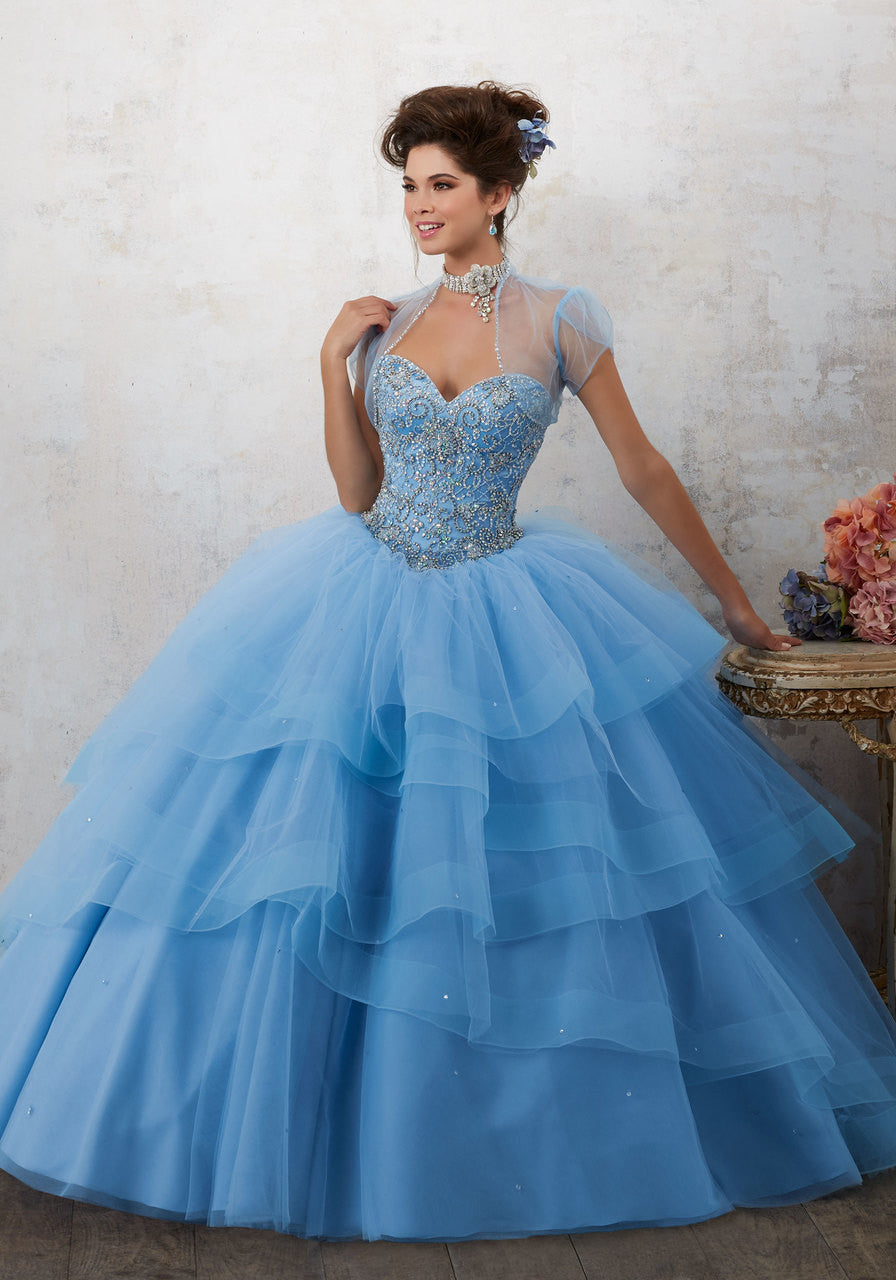 89130 Jeweled Beading on a Tiered Tulle Ballgown