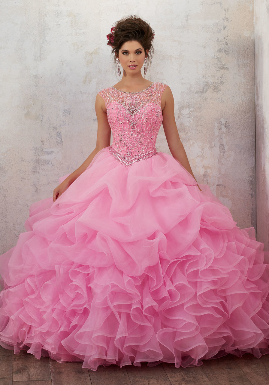 89132 Jeweled Beading on a Ruffled Organza Ballgown