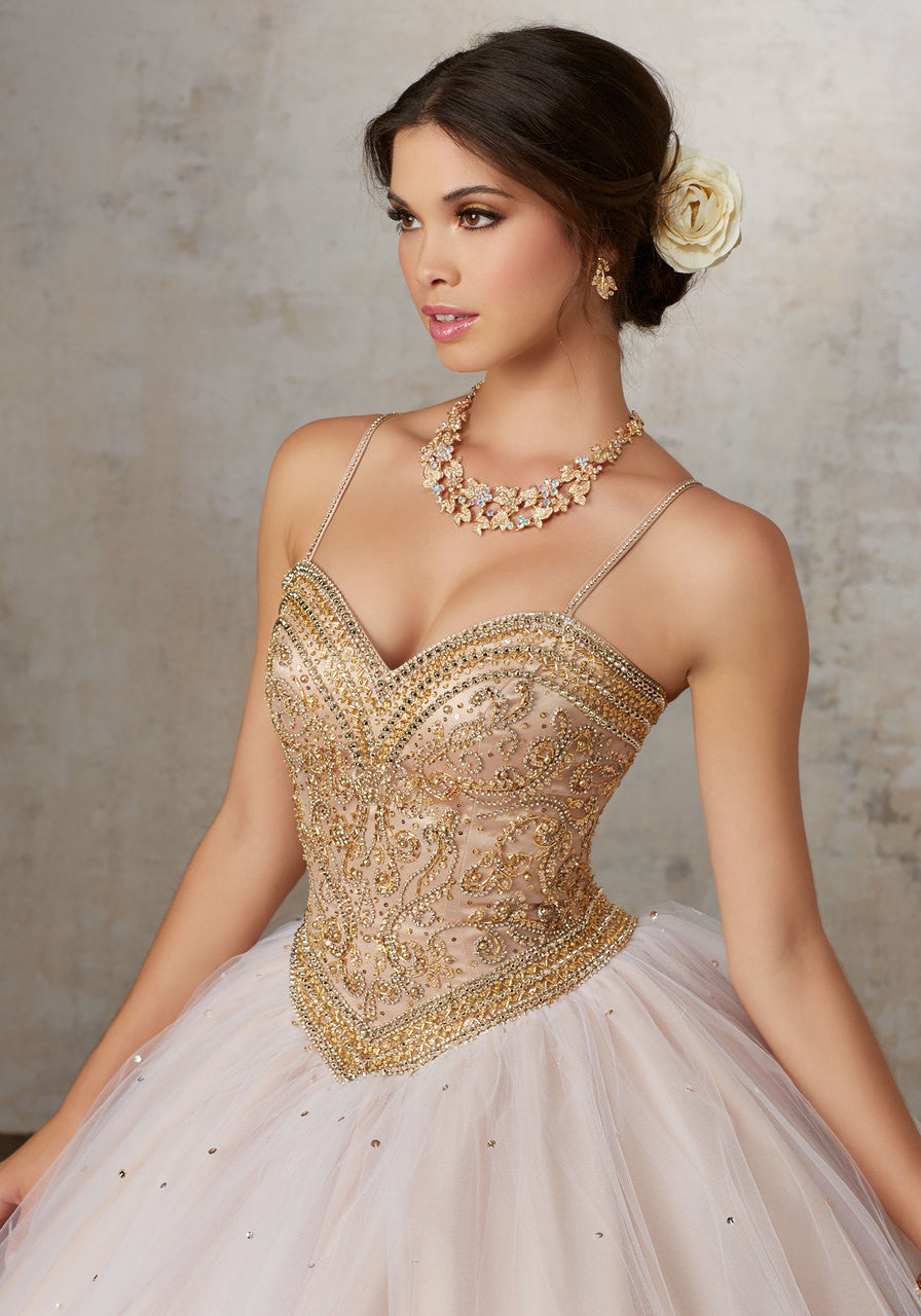 89133 Jeweled Beading on a Tulle Ballgown