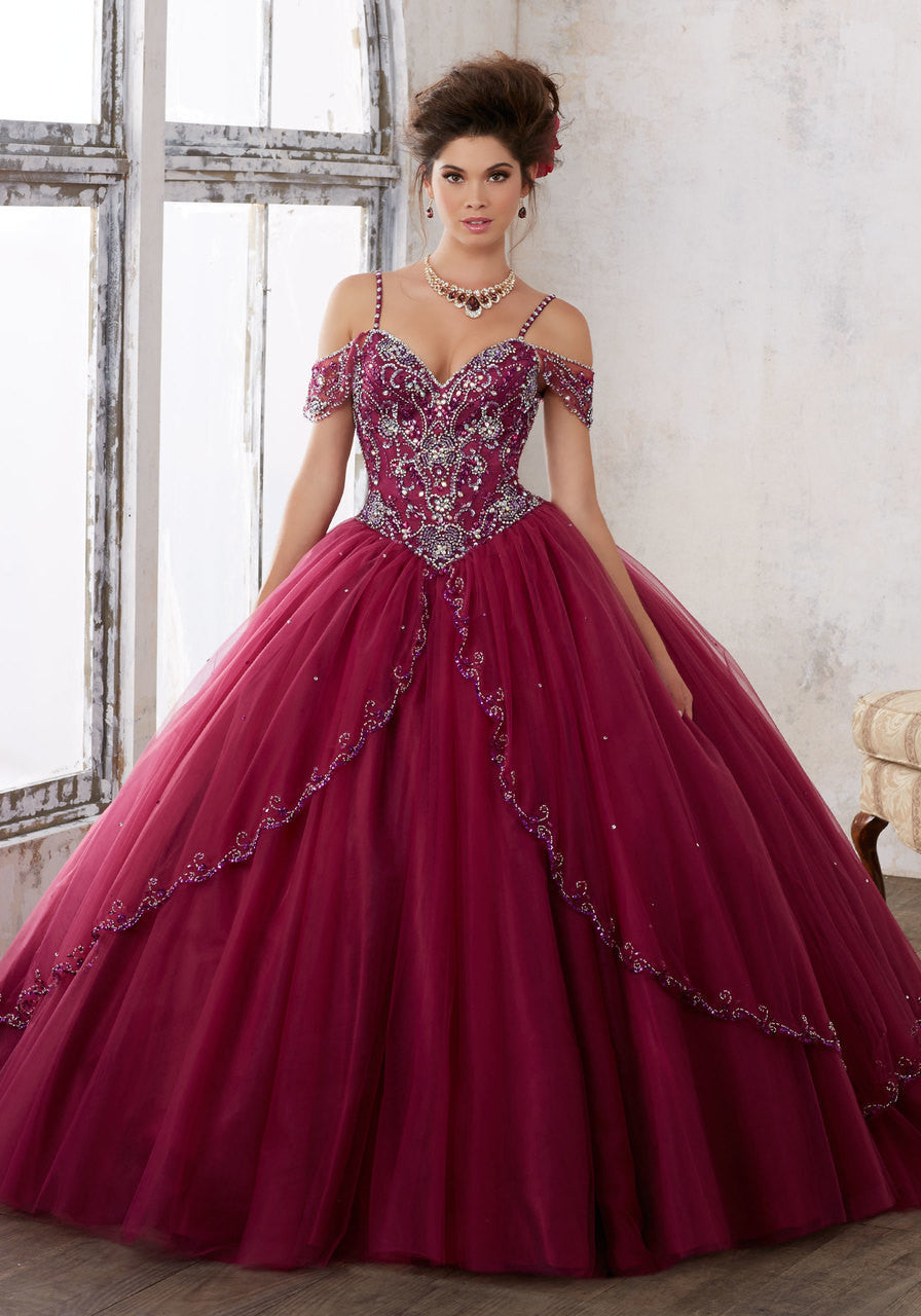 89135 Jeweled Beading on a Split Front Tulle Ballgown