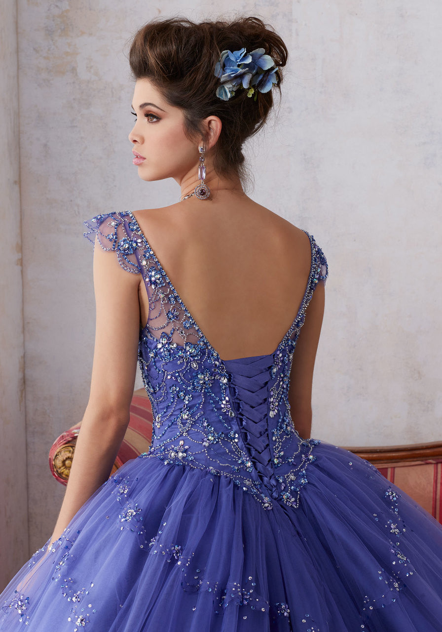 89136 Jeweled Beading on a Tulle Ballgown