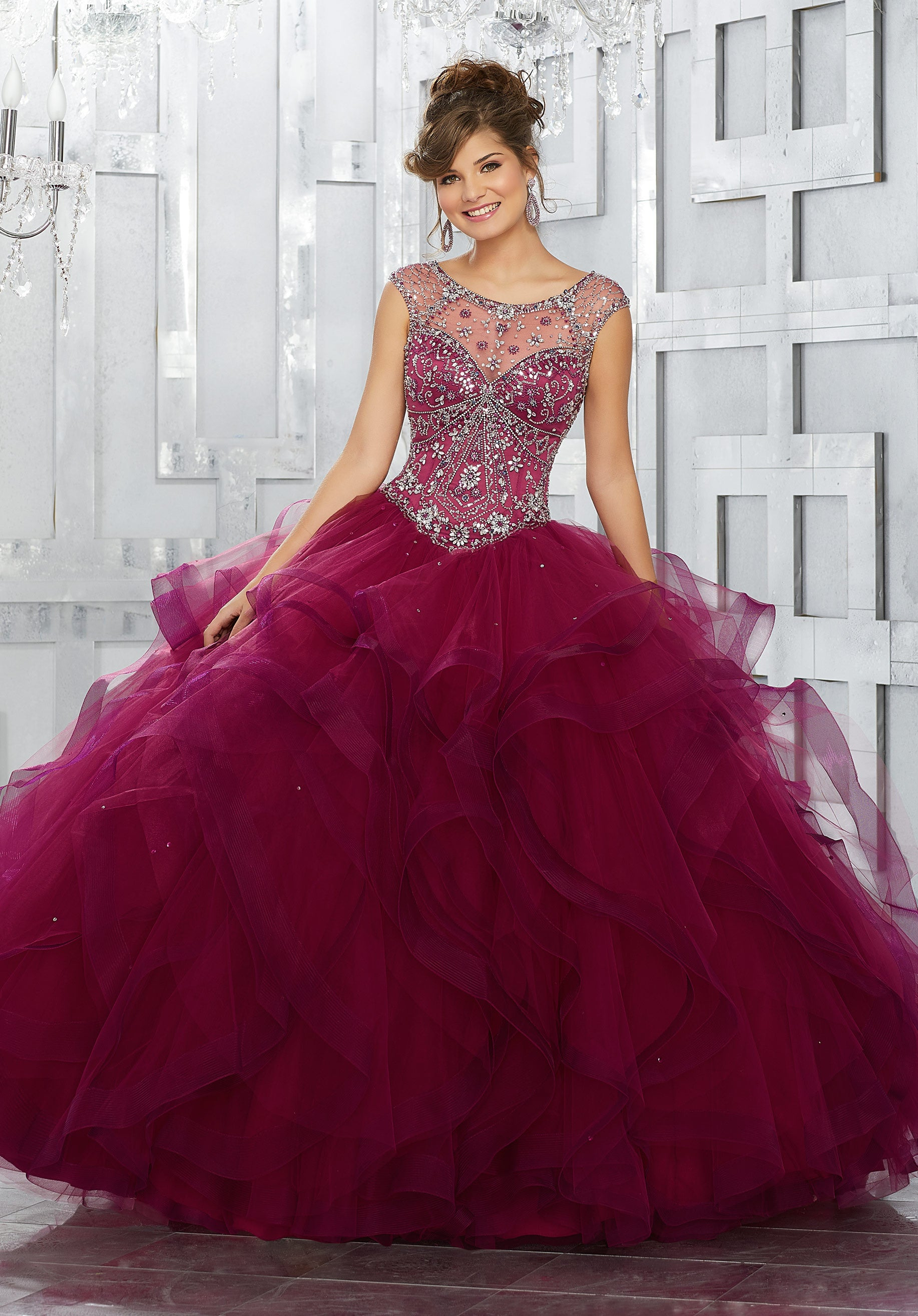 Jeweled Net Bodice on a Flounced Tulle Ball Gown Skirt – Rina\'s ...