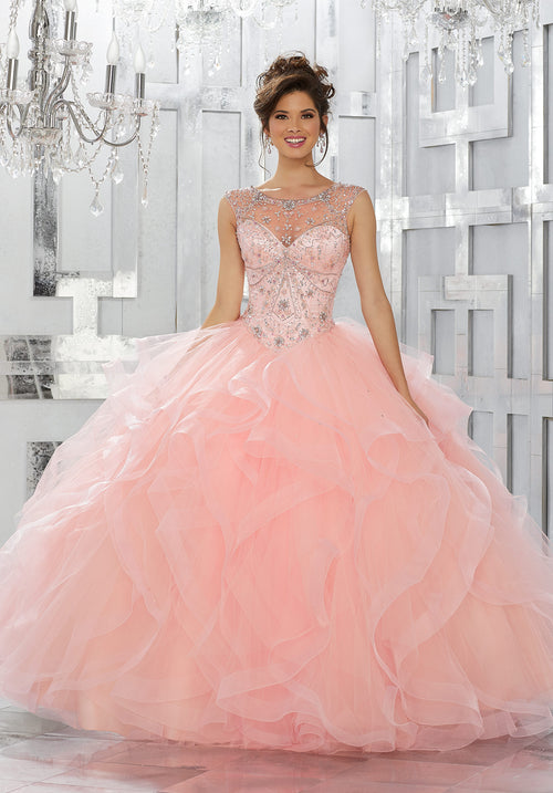 78030 Jeweled Net Bodice on a Flounced Tulle Ball Gown Skirt