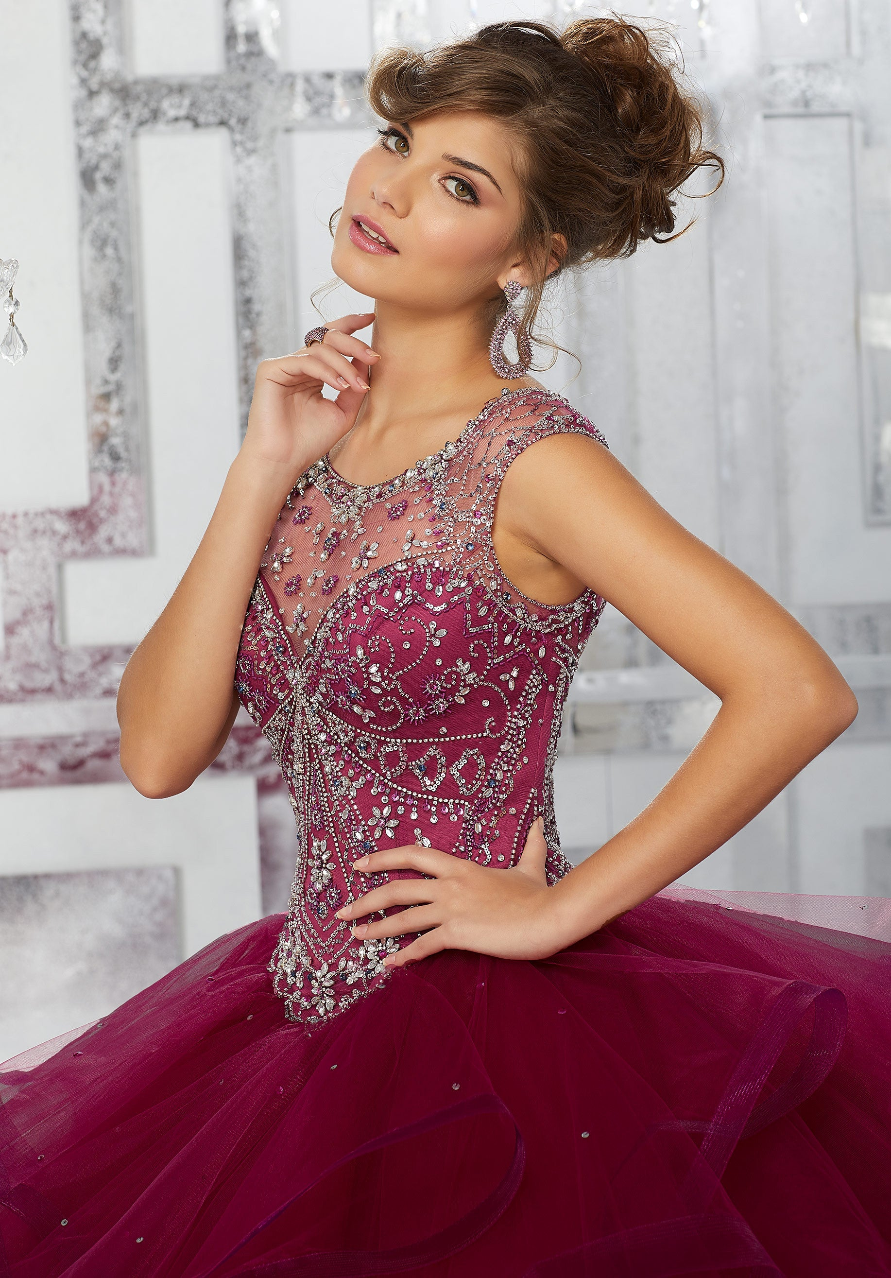 89141 Jeweled Net Bodice on a Flounced Tulle Ball Gown Skirt