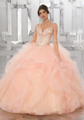 78031 Beaded Embroidery on Net with Flounced Tulle Ball Gown Skirt