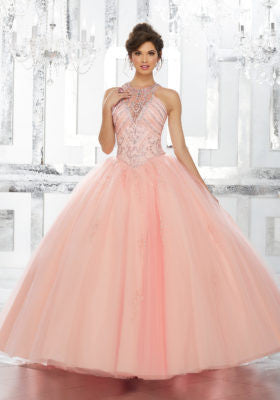 aafea47c67 78034 Rhinestone and Crystal Beaded Bodice on Tulle Ball Gown Skirt with  Beaded Appliqués