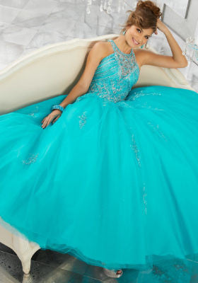 89145 Rhinestone and Crystal Beaded Bodice on Tulle Ball Gown Skirt with Beaded Appliqués