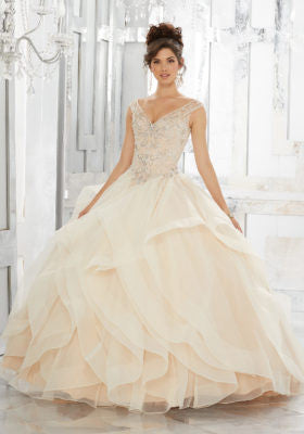 89151 Flounced Organza Ball Gown with Beaded Embroidery