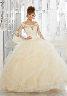 89153 Beaded Lace Appliqués on a Flounced Tulle Ball Gown
