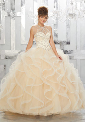 78043 Rhinestone and Crystal Beading on a Flounced Tulle Ball Gown
