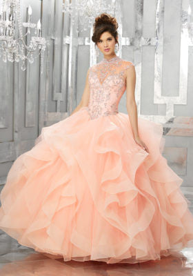 89155 Flounced Organza and Tulle Ball Gown with Jewel Beaded Bodice