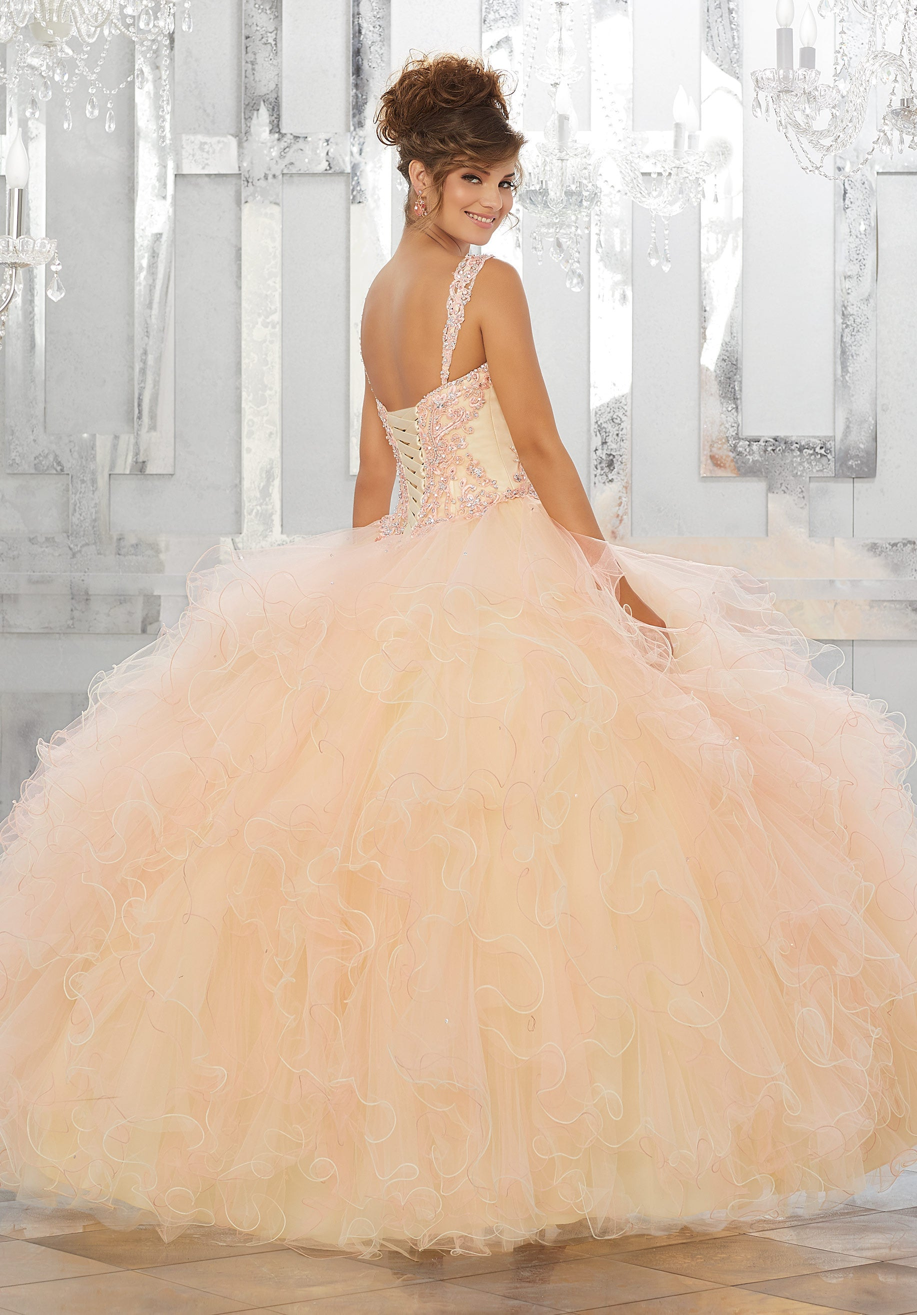 78045 Beaded and Embroidered Bodice on a Ruffled Tulle Ball Gown