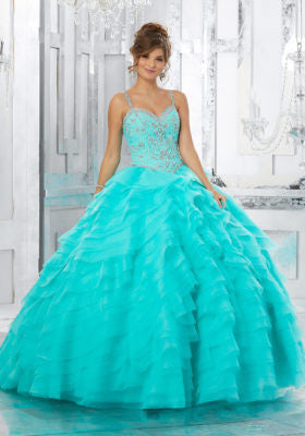89158 Rhinestone and Crystal Beaded Bodice on a Laser-Cut, Organza Ruffled Skirt